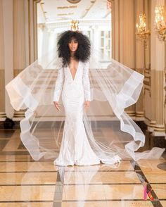 Long sleeves with a deep v neck and white beaded wedding dress. Natural hair bride with a horsehair trimmed veil. Natural Afro Hairstyles, Natural Hair Styles, Protective Hairstyles, Protective Styles, Mode Inspiration, Wedding Inspiration, Natural Hair Wedding, Natural Hair Brides, Best Wedding Hairstyles