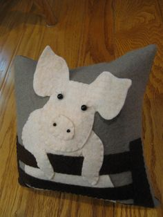 Baby Pig/Piglet Wool Applique Pillow by Justplainfolk on Etsy