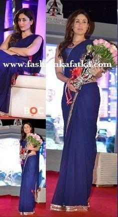 Kareena Kapoor In Blue Saree Promoting Satyagraha,bollywood style saree,blue plain sareewith golden border,indian saree,party wear saree