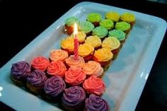 Cupcake birthday Cake - I like this idea for any age...decorate cupcakes in color scheme of your choice and arrange in shape you want! Rainbow them!
