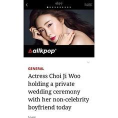 """regram @goddessjiwoo1  And it was Official Via. AllKpop  Actress Choi Ji Woo holding a private wedding ceremony with her non-celebrity boyfriend today  ActressChoi Ji Woo(42) is getting married today (March 29)! On the morning of March 29 Choi Ji Woo announced the sudden joyful news with her fans via her official website. The actress shared an adorable handwritten letter to deliver the good news complete with a photo of her in a wedding dress.  She said""""Today March 29 is the day I promise a…"""