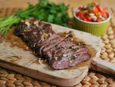 Garlic Skirt Steak - Ingredients: 1 lb skirt steak, 3 cloves garlic minced, 2 tbsp EVOO, ¼ cup cilantro, roughly chopped, juice of 1 lime, salt and peper to taste. Oven cooked recipe