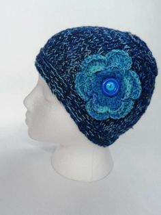 Blue Beanie Woman Handknit Variegated Crocheted by ToppyToppyKnits, $23.00