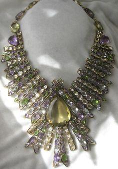 Vintage Christian Dior- Huge Zillions Of Semi Precious Stones Bib Necklace