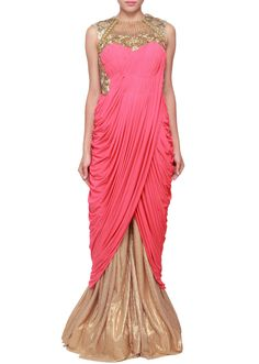 f5e893e1b1e4 Buy Raspberry Cowl Drape Gown online in India at best price.Gown featuring  in raspberry red lycra . Bodice is enhanced in pleats along with zari and  kundan ...
