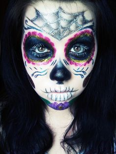 Glitter infused Day of the Dead make-up. #Halloween #Day_of_the_Dead #costume #makeup