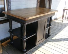 Country Kitchen Island Handcrafted With Extra Storage Beautiful Hand Carved Legs And Casters