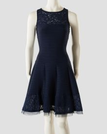 Illusion Yoke Pintuck Fit & Flare Dress with Lace Accents, Main View
