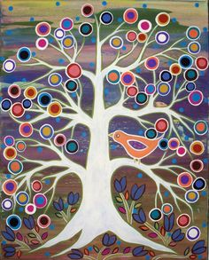 The Bird's Tree Folk Art Karla Gerard Canvas ACEO - Art Card Print. $5.99, via Etsy.