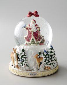 "Christopher Radko ""Winter Forest Santa"" Snow Globe"