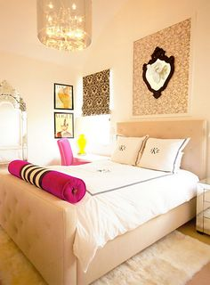 monograms, pop of color, bed