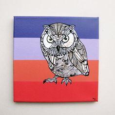 Owl Zentangle Original Painting - Eastern Screech Owl - Canvas Art - Pink - Owl - Framed- Acrylic - Animal Art. $200.00, via Etsy.