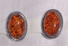 BEAUTIFUL LARGE STERLING SILVER BALTIC AMBER CLIP-ON EARRINGS, ROPE BORDER #ClipOn