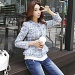 SHE IN SUN Women's Casual/Daily Work Simple Spring Fall Shirt,Striped Embroidery Shirt Collar Long Sleeves Polyester Medium 2017 - $21.61