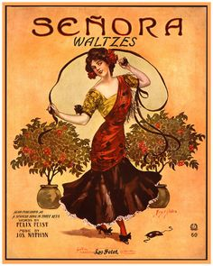 """Senora Waltzes"" ~ Vintage sheet music cover, ca. early 1900s."
