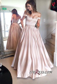 Off-the-Shoulder Beading Pockets Pearl-Pink Puffy 2017 Prom Dresses_High Quality Wedding Dresses, Prom Dresses, Evening Dresses, Bridesmaid Dresses, Homecoming Dress - 27DRESS.COM