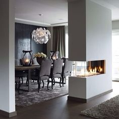 Dinning area with fire place #Dinning Room