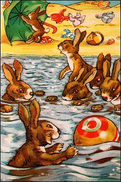 illustrations by quenalbertini - Bunny Swim, Angusine Jeanne McGregor illustr.-via flickr...