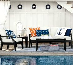 Nautical Pillows for Outdoors! http://beachblissliving.com/outdoor-pillows/