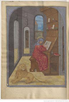 Livre d'heures, en latin et en français, à l'usage de Cambray -- 1401-1500 -- manuscrits Arsenal, Bnf, Illuminated Manuscript, Lions, Renaissance, Medieval, Saints, Miniatures, Scriptures