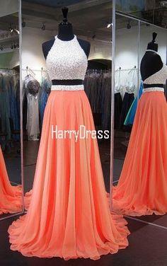 Orange A Line Halter Chiffon Sweep Train Crystal Backless Two Piece Prom Dress