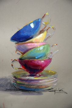 Painting acrylic inspiration still life 23 ideas Pastel Drawing, Painting & Drawing, Drawing Cup, Soft Pastel Art, Soft Pastels, Pinturas Em Tom Pastel, Still Life Art, Fine Art, Oeuvre D'art