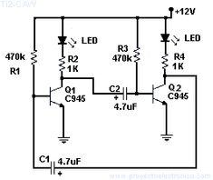 Diagrama de intermitente con 2 leds facil