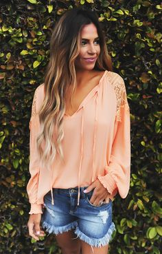 Orange Lace Detail Tie Front Top - Dottie Couture Boutique