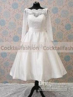Free Shipping White Long Sleeves Mid Calf Cover Button Lace Wedding Dresses Bridal dresses Simple