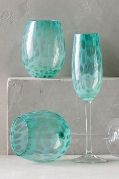 Treillage Glassware by Anthropologie from Anthropologie . Saved to kitchen Azul Tiffany, Tiffany Blue, Shades Of Turquoise, Shades Of Blue, Turquoise Color, Aqua, Teal, Wine Glass, Glass Art