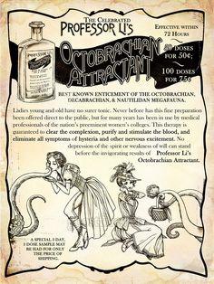 Steampunk Advertisement - 8x10 Inch Art Print - Professor Li's Octobrachian Attractant. $10.00, via Etsy.