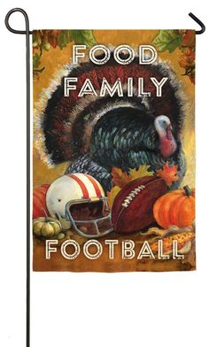 Evergreen Suede Food, Family, Football Thanksgiving Garden Flag, 12.5 x 18 inches