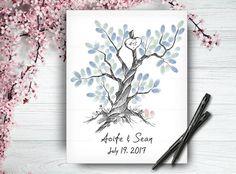 Custom Hand Drawn Guestbook Tree Wedding by LoveArtDesign on Etsy