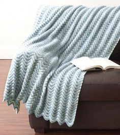 Water Ripples Crochet Afghan | Soft ripples run throughout this crochet afghan for a calm oceanic effect