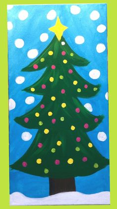 Whimsical  Christmas tree Canvas on Etsy, $20.00