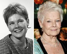 Judi Dench early and later . Helen Mirren, Carmen Dell'orefice, Judi Dench, Diane Keaton, Isabelle Huppert, Very Short Pixie Cuts, Celebrities Then And Now, Haircut For Older Women, Actrices Hollywood