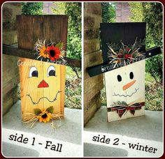 Rustic SnowCrow - Fall/Winter REVERSIBLE decor - Scarecrow and Snowman This is the perfect decor - 2-in-1 fall scarecrow and winter snowman on the by jami