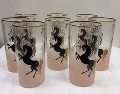 Vintage Libbey Pink Frosted Black Stallion Horse Tom Collins Glasses Set /8 RARE #TomCollins