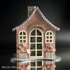 Valentine's Day Putz Glitter House, Pink Champagne German Glass Glitter, Silver Dresden Trim, by MagiaMia