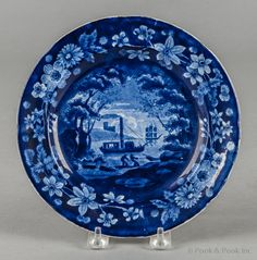 "Pook & Pook. October 11th & 12th 2013. Lot 774.  Estimated: $200 - $400.   Realized Price: $237.   Historical blue Staffordshire Fulton's Steamboat plate, 19th c., 8"" dia."