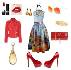 Blue/red look by olia-chika on Polyvore featuring polyvore, fashion, style, Balmain, Topshop, Chicwish, Mario Valentino, J.Crew, Avigail Adam, Jouer, Christian Dior and clothing