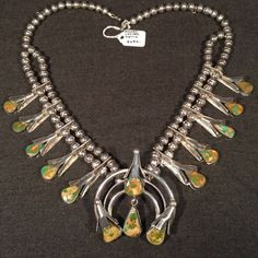 Lester Ortiz Squash Blossom Necklace: Beck's Antiques & Books