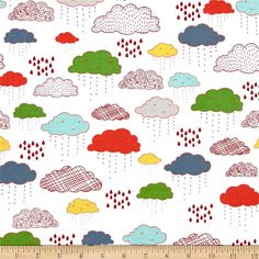 Riley Blake Greatest Adventure Clouds Multi from @fabricdotcom  Go on an adventure with Riley Blake! Designed by Cinderberry Stitches and Natalie Lymer for Riley Blake, this cotton print is perfect for quilting, apparel and home decor accents. Colors include grey, red, orange, green, aqua, yellow, blue and white.