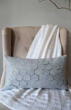 Items similar to Honeycomb Gorgeous Grey Felt Kidney Pillow with Down Insert on Etsy