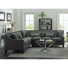 Shop for Chic Home Fulla Linen Tufted Back Rest Modern Contemporary Right Facing Sectional Sofa. Get free delivery On EVERYTHING* Overstock - Your Online Furniture Shop! Grey Sectional Sofa, Living Room Sectional, Corner Sectional, Modern Sectional, Living Room Grey, Living Room Furniture, Home Furniture, Living Room Decor, Living Spaces