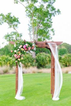 Wooden Arch Arbor with Florals and Draping- nice proportion and like the simple draping (similar arbor as well) Wooden Wedding Arches, Rustic Wedding, Trendy Wedding, Daniel Island Club, Wedding Pergola, Pergola Patio, Metal Pergola, Wooden Arbor, Wedding Ceremony Flowers