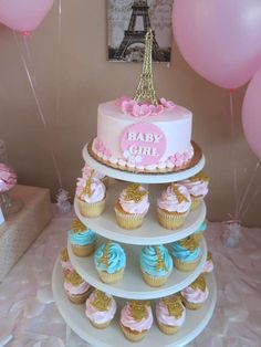 Cake and cupcakes at a Paris baby shower! See more party planning ideas at CatchMyParty.com!