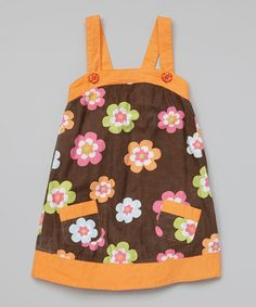 This Brown & Orange Floral Dress - Infant, Toddler & Girls by Koko Bean is perfect! #zulilyfinds