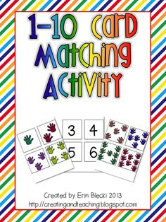 1-10 Card Matching Pocket Chart Activity- [FREEBIE]