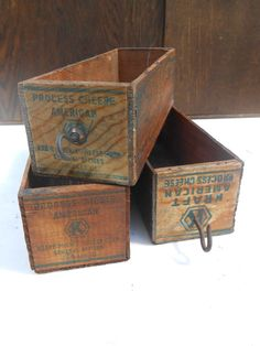 Set of 3 Antique Kraft American Cheese Boxes Vintage Advertising Wooden Crates